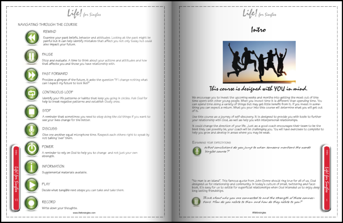 life for singles workbook, intro and navigation, discovering your purpose, future and identity, Christian course